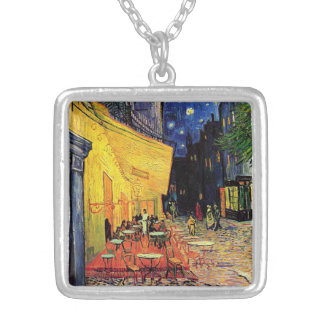 Van Gogh Cafe Terrace on Place du Forum, Fine Art Silver Plated Necklace