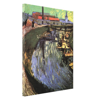 Van Gogh Canal with Women Washing Canvas Print