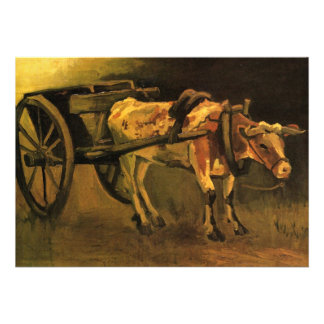 Van Gogh Cart with Red White Ox, Vintage Fine Art Personalized Invitations