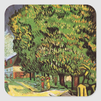 Van Gogh Chestnut Trees in Blossom Vintage Art Square Stickers