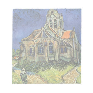 Van Gogh Church at Auvers, Vintage Architecture Notepad