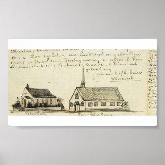 Van Gogh - Churches at Petersham and Turnham Green Poster