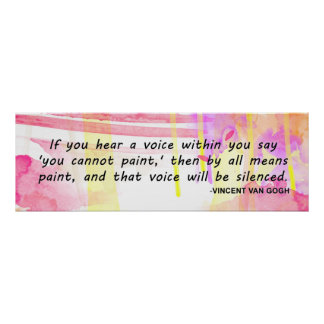 Van Gogh, Colourful Inspirational Artist Quote Poster