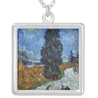 Van Gogh- Country Road in Provence by Night Square Pendant Necklace