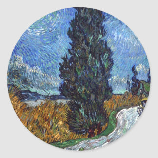 Van Gogh- Country Road in Provence by Night Stickers