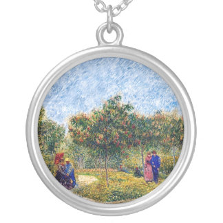 Van Gogh - Couples In The Park At Asnieres Round Pendant Necklace