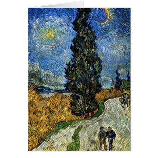 Van Gogh - Cypress against a Starry Sky Note Card