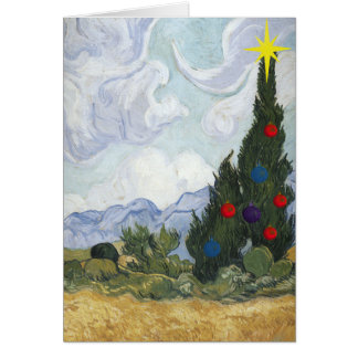 Van Gogh  Cypress Artist Christmas Card