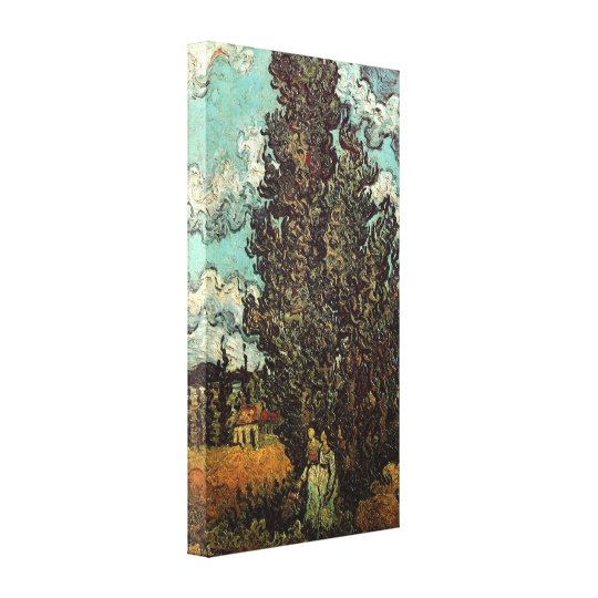 Van Gogh Cypresses and Two Women, Vintage Fine Art Canvas Print