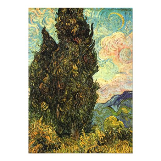 Van Gogh Cypresses, Vintage Impressionism Fine Art Personalized Invites