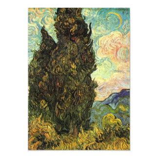 Van Gogh Cypresses, Vintage Landscape Fine Art 13 Cm X 18 Cm Invitation Card