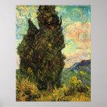 Van Gogh Cypresses, Vintage Landscape Fine Art Poster
