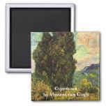 Van Gogh Cypresses, Vintage Landscape Fine Art Square Magnet