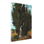 Van Gogh Cypresses with Two Female Figures Gallery Wrapped Canvas