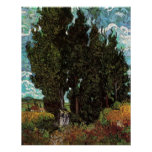 Van Gogh Cypresses with Two Female Figures Poster
