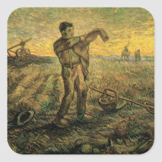 Van Gogh Evening: End of the Day, Vintage Art Square Sticker
