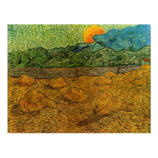 Van Gogh - Evening Landscape with Rising Moon Postcard