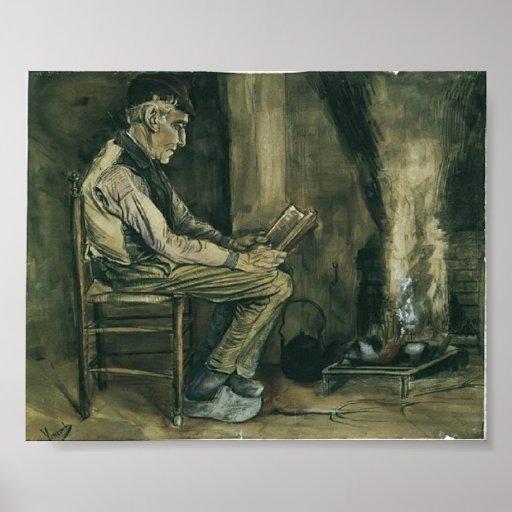 Van Gogh - Farmer sitting at the fireside, reading Print