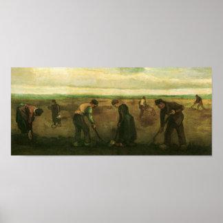 Van Gogh Farmers Planting Potatoes Poster