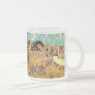 Van Gogh Farmhouse in Provence, Vintage Fine Art Frosted Glass Coffee Mug