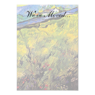 Van Gogh - Field Of Spring Wheat At Sunrise 13 Cm X 18 Cm Invitation Card