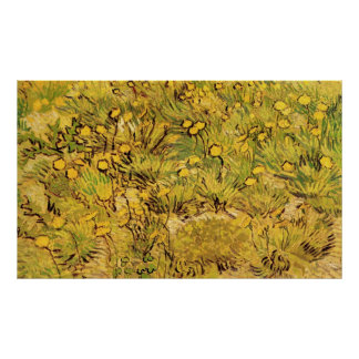 Van Gogh Field of Yellow Flowers, Vintage Fine Art Poster