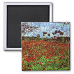 Van Gogh Field with Poppies (F636) Fine Art Square Magnet
