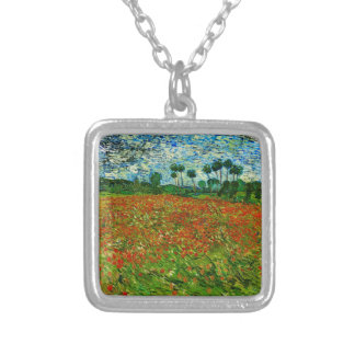 Van Gogh Field with Poppies (F636) Fine Art Square Pendant Necklace
