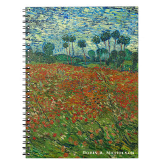 Van Gogh Field with Poppies Personalized Spiral Notebook