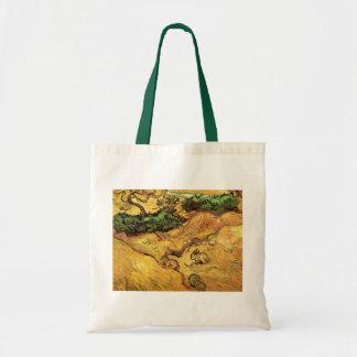 Van Gogh Field with Two Rabbits, Vintage Fine Art Jumbo Tote Bag