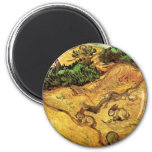 Van Gogh Field with Two Rabbits, Vintage Landscape 6 Cm Round Magnet