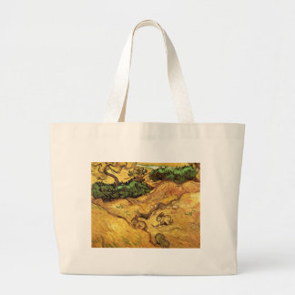 Van Gogh Field with Two Rabbits, Vintage Landscape Jumbo Tote Bag