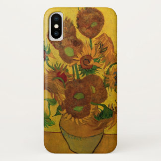 Van Gogh Fine Art Flowers, Vase with 15 Sunflowers iPhone X Case