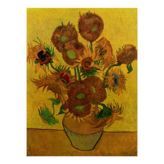 Van Gogh Fine Art Flowers, Vase with 15 Sunflowers Poster