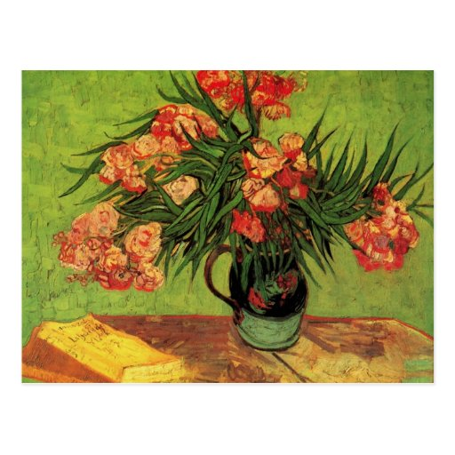 Van Gogh Fine Art, Vase with Oleanders and Books Postcard