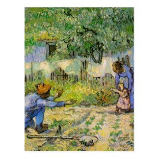 Van Gogh, First Steps, Vintage Impressionism Art Postcard