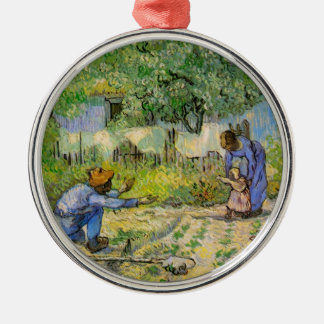 Van Gogh, First Steps, Vintage Impressionism Art Silver-Colored Round Decoration