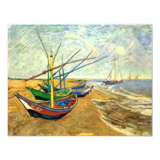 Van Gogh Fishing Boats on Beach at Saintes Maries Card
