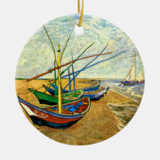 Van Gogh Fishing Boats on Beach at Saintes Maries Christmas Ornament