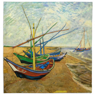 Van Gogh Fishing Boats on Beach at Saintes Maries Napkin
