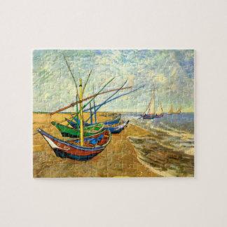 Van Gogh Fishing Boats on Beach at Saintes Maries Puzzles