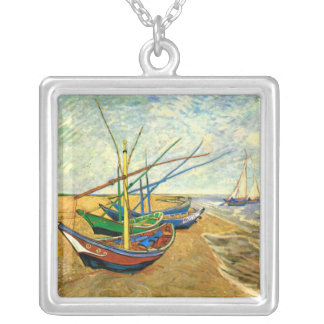 Van Gogh Fishing Boats on Beach at Saintes Maries Silver Plated Necklace