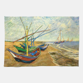 Van Gogh Fishing Boats on Beach at Saintes Maries Tea Towel