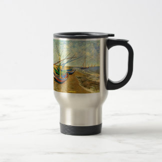 Van Gogh Fishing Boats on Beach at Saintes Maries Travel Mug