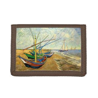 Van Gogh Fishing Boats on Beach at Saintes Maries Tri-fold Wallets