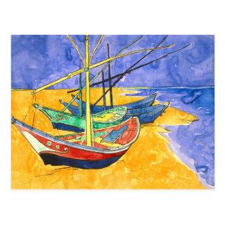 Van Gogh Fishing Boats on Beach (F1429) Fine Art Postcard