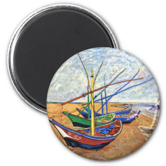 Van Gogh - Fishing Boats On The Beach 6 Cm Round Magnet