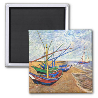 Van Gogh - Fishing Boats On The Beach Square Magnet