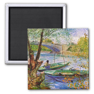 Van Gogh - Fishing In Spring Square Magnet