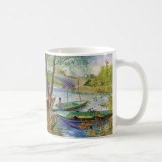 Van Gogh Fishing in the Spring, Vintage Fine Art Basic White Mug